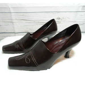 Franco Sarto Square Brown Toe Heels Size 7.5 M